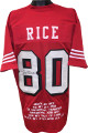 Jerry Rice signed Red w/ Off-White Shadow # TB Custom Stitched Pro Style Football Jersey 1994 Style w/ Embroidered Stats XL- JSA