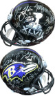 Baltimore Ravens SB XLVII Logo Team signed FS Rep Helmet 27 sigs – JSA LOA Z96021 Terrell Suggs, Michael Oher, Torrey Smith