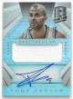 Tony Parker signed San Antonio Spurs 2014-15 Panini Spectra Prism Game Used Jersey Basketball Card #SS-TP- LTD 29/35