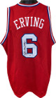 "Julius Erving signed Red TB Custom Stitched Pro Basketball Jersey ""Dr. J"" XL- PSA Hologram #6A76110"