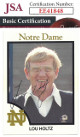 Lou Holtz signed Notre Dame Fighting Irish Head Coach Football Trading Card #11- JSA Hologram #EE41848