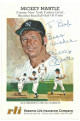 Mickey Mantle signed New York Yankees Reserve Life 4x6 Promo Baseball Card To Bob Best Wishes JSA LOA #BB26789