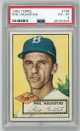 Phil Haugstad Brooklyn Dodgers 1952 Topps Baseball Card #198- PSA Graded 4 Very Good-Excellent