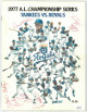 1977 AL Championship signed game program NY Yankees KC Royals 5 sigs Whitey Herzog, Dick Tidrow, Cookie Rojas- JSA DD64765