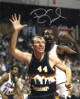 Dan Issel signed Denver Nuggets 8x10 Photo (navy rainbow jersey)