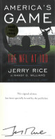 Jerry Rice signed 2019 America's Game: The NFL at 100, Hardcover Book Plated First Edition Book (PREM COA)