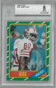 Jerry Rice 1986 Topps Football Rookie Card (RC) #161- Beckett Graded 8 Near Mint-Mint (San Francisco 49ers)