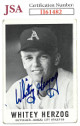 Whitey Herzog signed 1960 Leaf Baseball Card #71- JSA #II61482 (Kansas City Athletics)