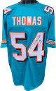 Zach Thomas signed Teal Custom Stitched Pro Style Football Jersey #54 XL- JSA Witnessed