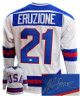 Mike Eruzione signed Team USA White Custom Hockey Jersey XL- JSA Witnessed (Miracle 1980 Olympics vs Soviet Union)