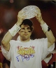 Matt Leinart signed USC Trojans 16x20 Photo w/ Trophy minor ding- Leinart Hologram