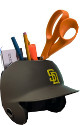 San Diego Padres Brown Matte MLB Baseball Schutt Mini Batting Helmet Desk Caddy/Organizer