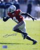 Santonio Holmes signed Ohio State Buckeyes 16X20 Photo (red jersey-full body)- Holmes Hologram