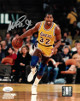 Magic Johnson signed Los Angeles Lakers 8x10 Photo- JSA Hologram (yellow jersey dribble-silver sig)