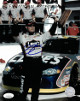 Jimmie Johnson signed NASCAR Lowes 8x10 Photo- JSA Hologram #CC08753 (w/ 2002 Daytona Bud Pole Award/Trophy)