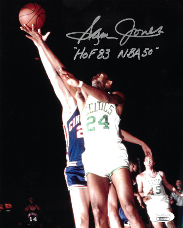 Sam Jones signed Boston Celtics Color 8x10 Photo dual HOF 83 & NBA 50- JSA Hologram